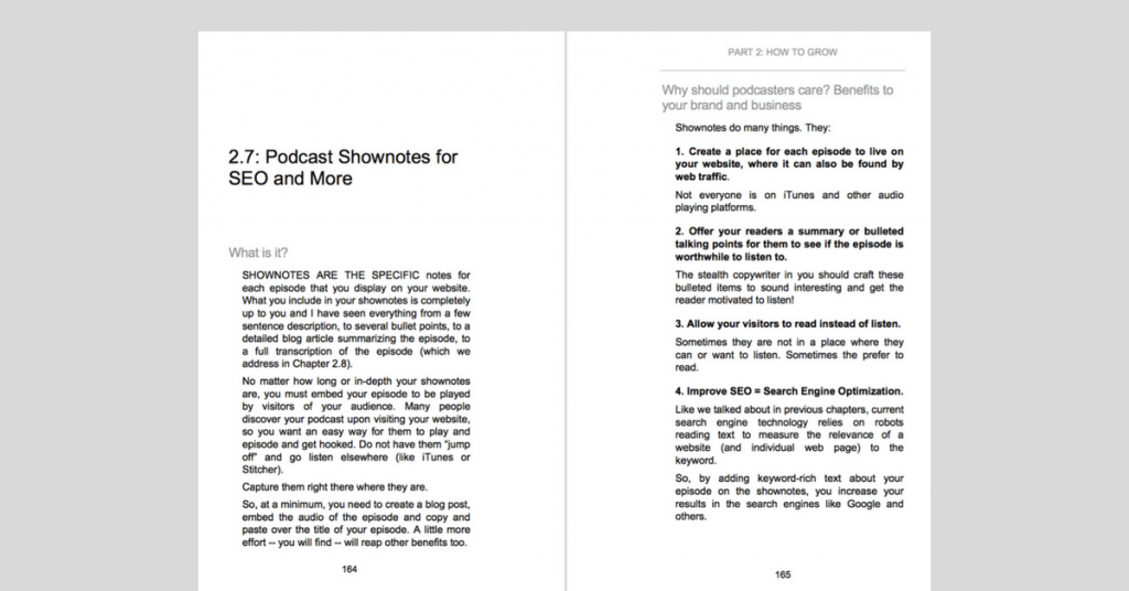 example of inside my bestselling copywriting for podcasters book with subsections