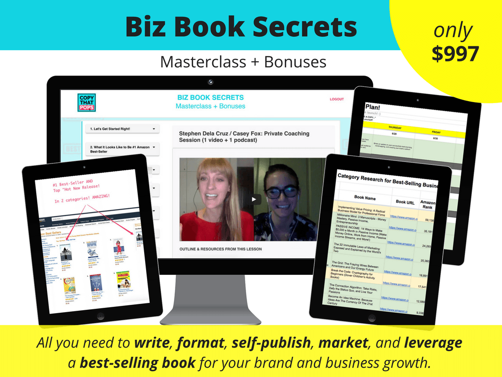 biz book secrets masterclass to write publish market and hit best-seller with a business book on amazon