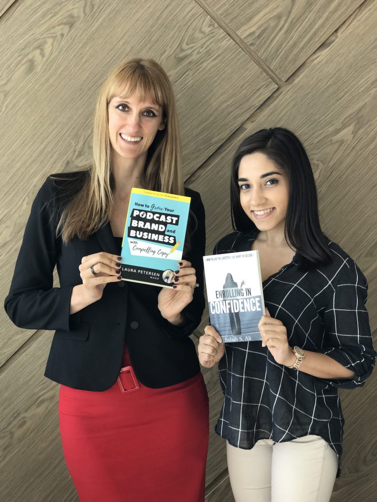 laura petersen and sabah ali holding our amazon best selling books