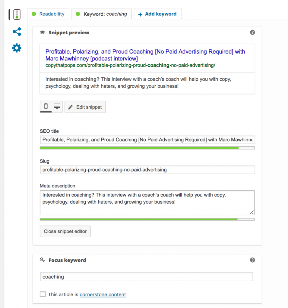 example of yoast SEO snippet text preview, meta data, and preview from Google searches